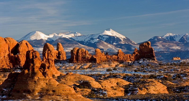 """ARCHES LANDSCAPE"" (Arches NP, Utah) - The combination of the snow-capped Manti La Sal Mountains and glowing sandstone makes Arches an incredible place in the winter."