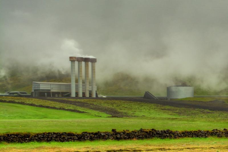 Fog Over Hellisheioarvikjun Power Station, Reykjanes Iceland