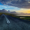 Sunset Over Road, East Fjorfds Iceland