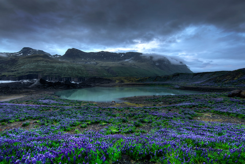 Glacier Lake And Clouds, South Iceland