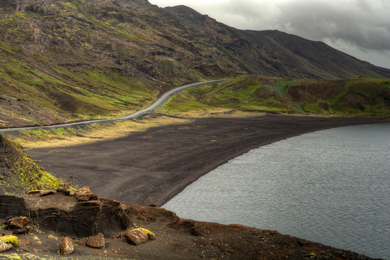 Road 42 And Kleifvarvatn Lake, Reykjanes Iceland