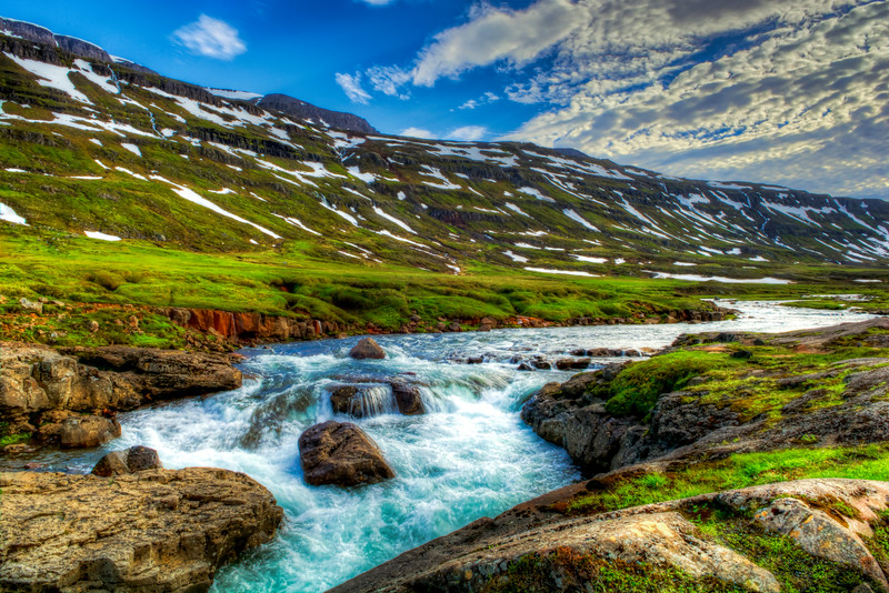 Stream In Valley, East Fjords, Iceland