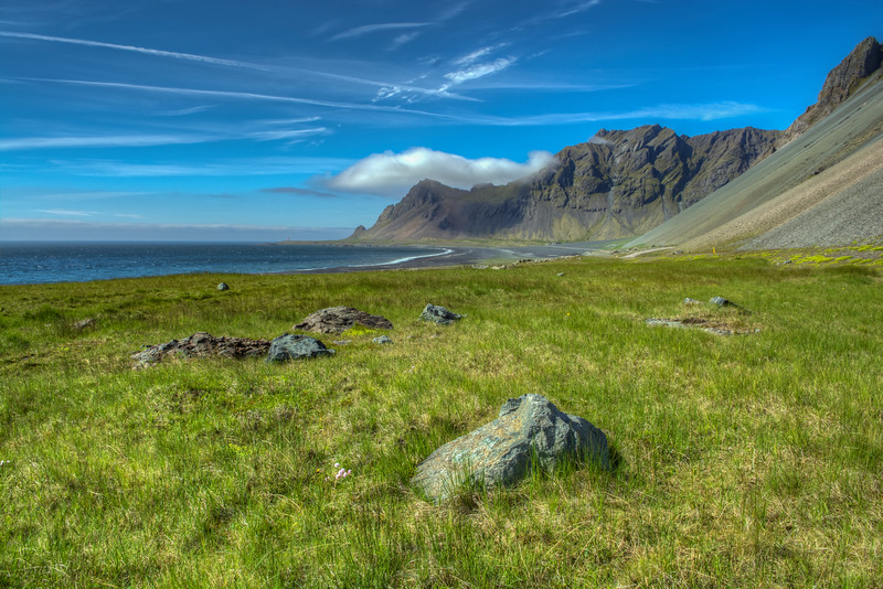 Mountains And Shoreline, South Iceland