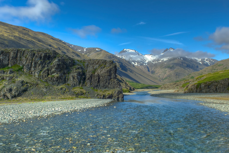 Stream In Valley, East Iceland