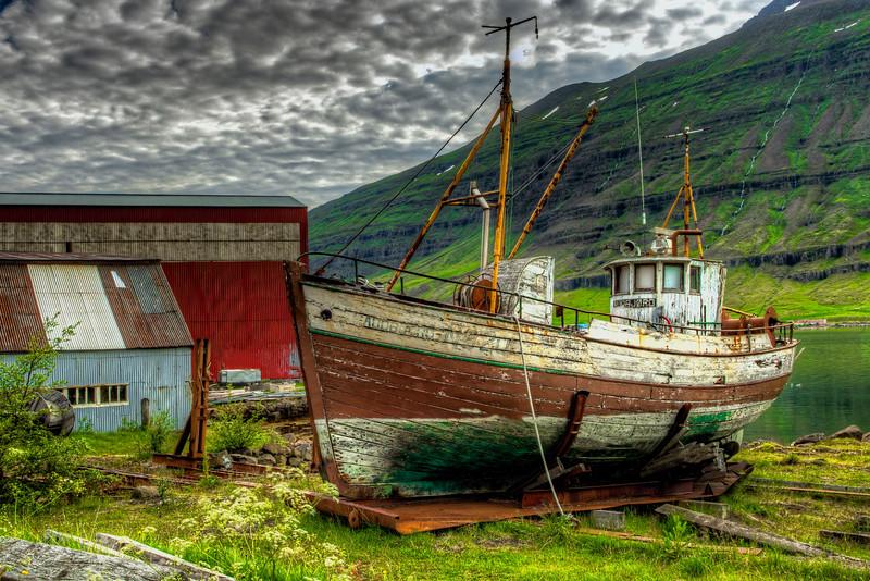 Old Abandoned Boat, Seyoisfjorour Harbor, East Fjords, Iceland