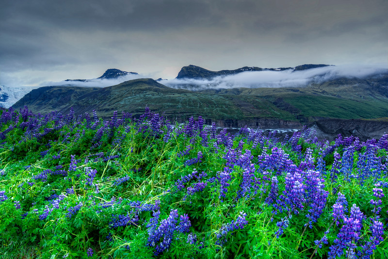 Cloud Layer Over Mountains, South Iceland