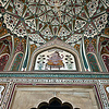 Intricate mosaic in the interior of Amber Fort, near Jaipur, Rajasthan, India