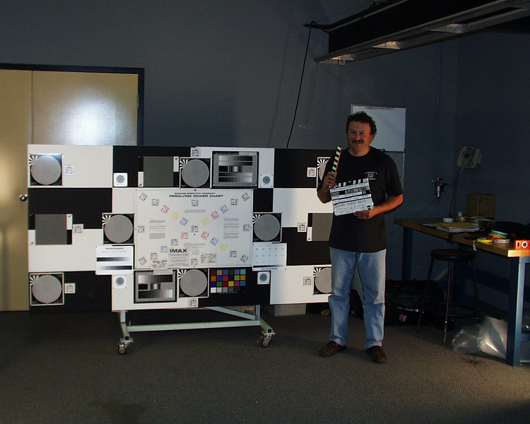 Me with steady and resolution test chart I designed.