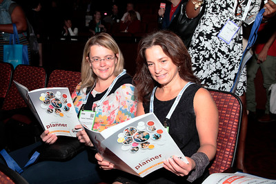 Attendees planning their day at IMEX America