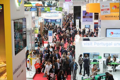 The busy show floor seen from on  high
