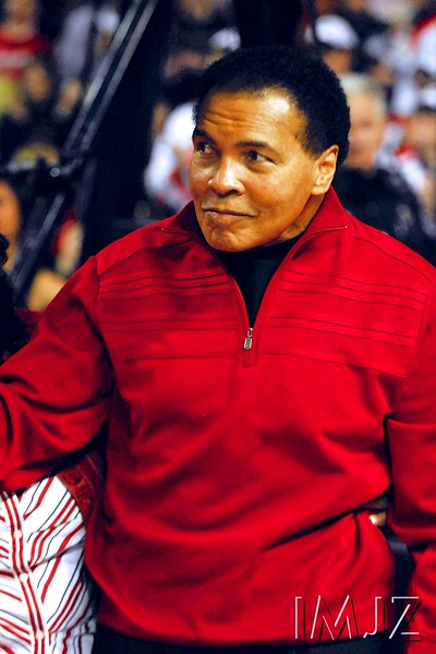 "Muhammad Ali, professional boxer, activist, and philanthropist, known as ""The Greatest"", he is widely regarded as one of the most significant and celebrated sports figures of the 20th century and one of the greatest boxers of all time. In this image, he makes an appearance during a Louisville basketball game in Freedom Hall on February 6, 2010."