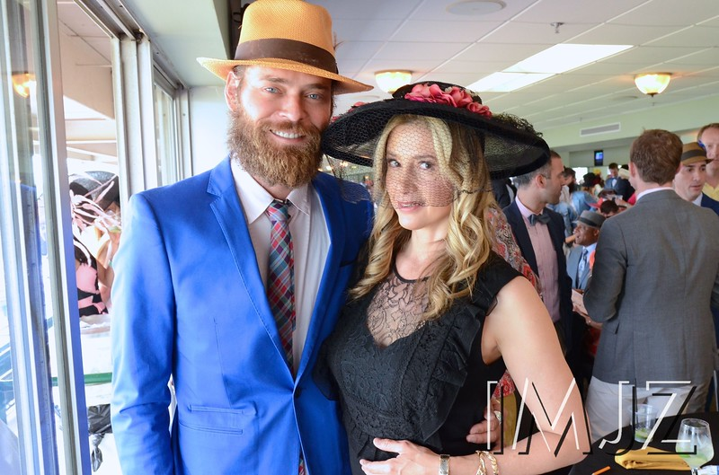 "Actor Christopher Backus from WGN's ""Underground"" and actress Mira Sorvino from the new movie opening this weekend ""Mothers and Daughters"" at Churchill Downs on Derby Day. May 7, 2016."
