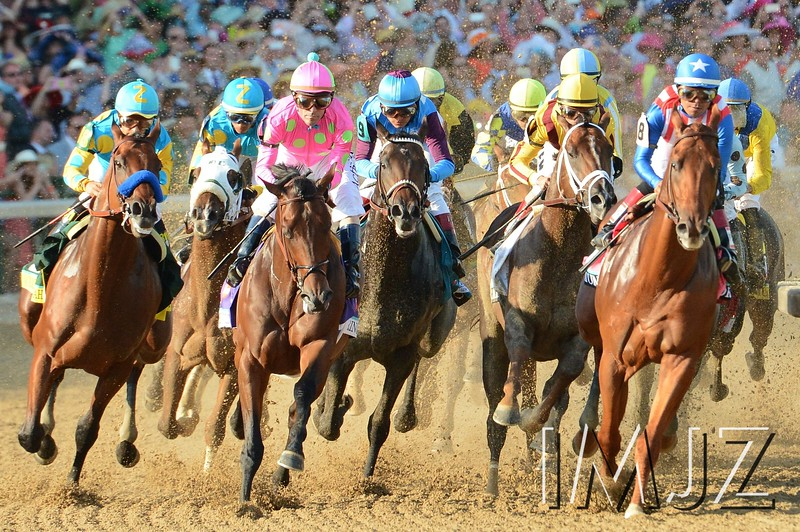American Pharoah saddled by Victor Espinoza, far left, competes on the first turn of the 2015 Kentucky Derby at Churchill Downs. They would go on to win the coveted Triple Crown that year. Saturday, May 2, 2015.
