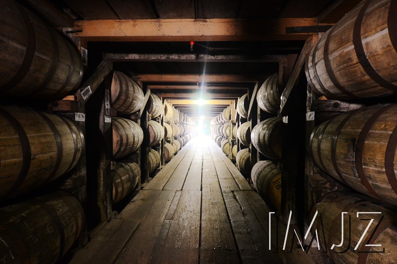 An exclusive view inside Heaven Hill's bourbon barrell rickhouse.