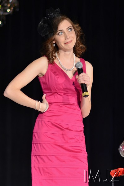 Carrie Ellis is stumped by one of the judge's questions during the Miss UofL pageant. February 24, 2013.
