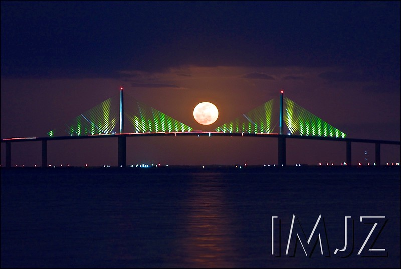 Full Moon Rise over the Sunshine Skyway Bridge as seen from Fort De Soto State Park.