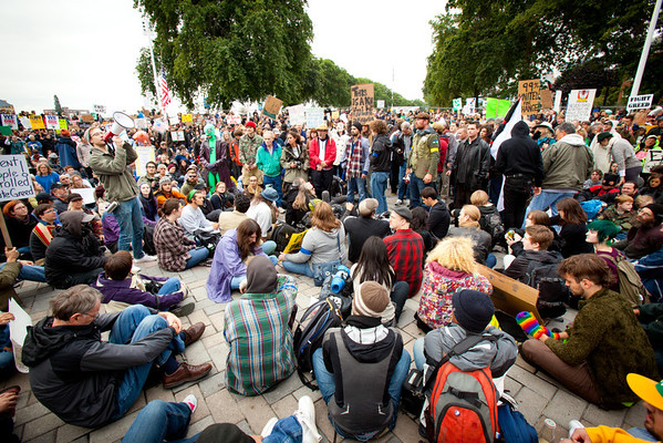 Occupy Portland protesters gathered  at the Waterfront near SW Ankeny and Naito Parkway to voice their concerns about a range of issues from the economy and financial system to marijuana prohibition and unemployement.