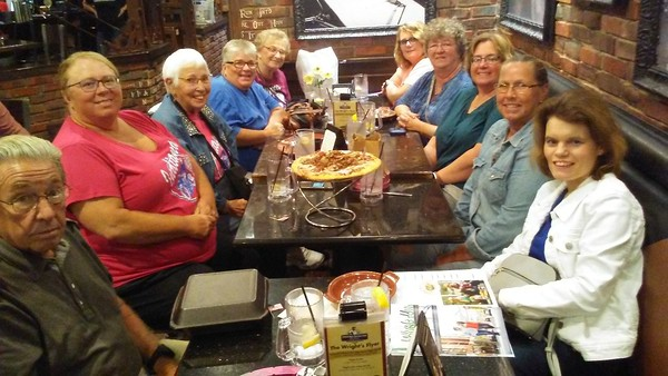 At Industrial Revolution with Debbie Little Lisa Kaye Bolakowski Sugar Peggy Pat Knies Julie Starkey Melissa Johnson and Berger and our Security Julies husband, Thank you ladies for sharing stories of your travels and experiences, you all are so special and the food was simply delicious