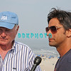ATLANTIC CITY, NJ - JULY 04:  Mike Love,(L) Beach Boys lead singer and band member John Stamos do an interview before perfoming for an estimated 50,000 fans in front of the Atlantic City Hilton on July 4, 2008 in Atlantic City, New Jersey.