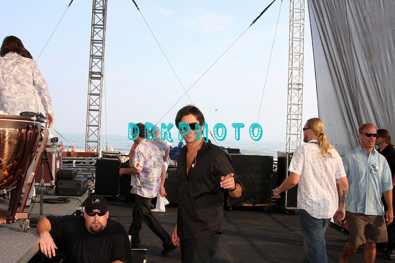 ATLANTIC CITY, NJ - JULY 04:  John Stamos arrives on stage to play withThe Beach Boys as they   perform for an estimated 50,000 fans in front of the Atlantic City Hilton on July 4, 2008 in Atlantic City, New Jersey.