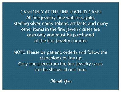 Estate Sale Photo Message-All Fine Jewelry etc are removed daily