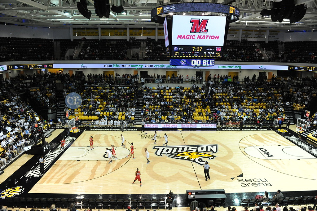 """Towson, MD -- 01/29/2016 -- Mercy Magic vs.  Institute of Notre Dame Penguins  in """"The Game"""", which is a yearly girls' basketball game. The announced crowd was 3,431.<br /> <br /> IND defeated Mercy 41 - 26 at the 50th Annual """"The Game"""" at Towson University SECU Arena Friday, Jan. 29, 2016"""
