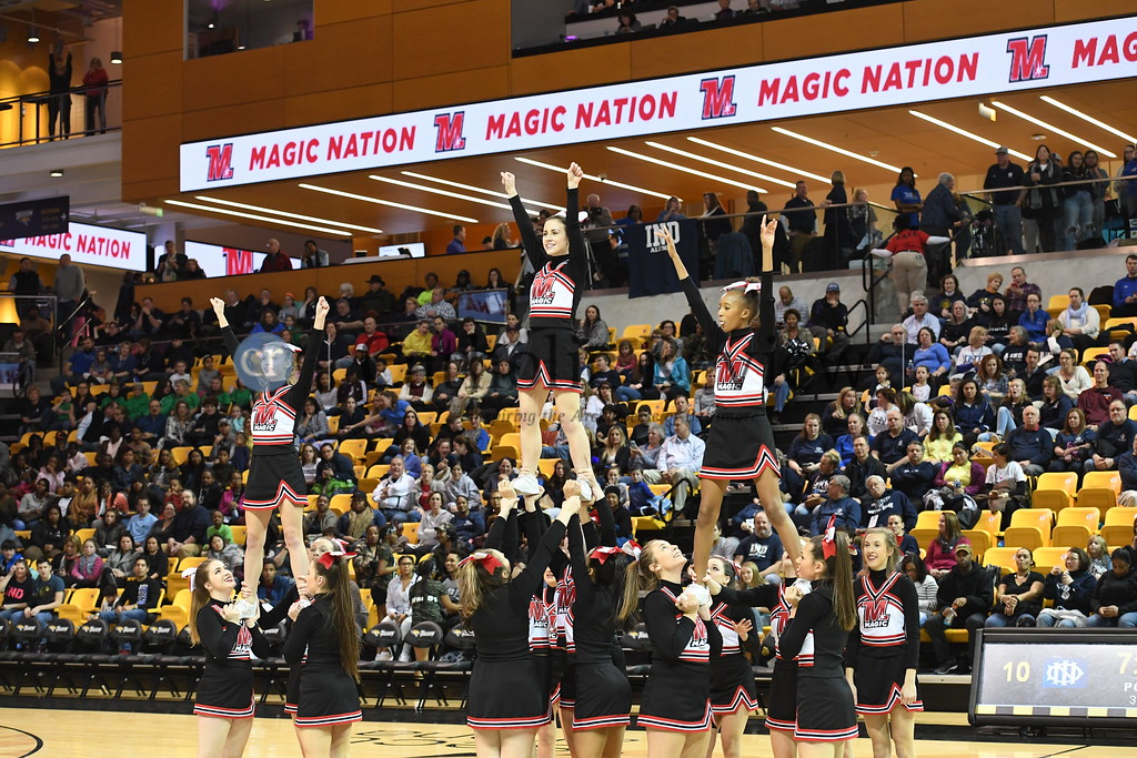 Towson, MD --  01/27/2017 -- 51st annual Big Game between the Institute of Notre Dame Penguins and Mercy Magic basketball teams in the IAAM B Conference at Towson University SECU Arena. IND rallied in the second half to defeat Mercy 39-26 in front of an estimated crowd of 2,800.  IND's Ja'Lyn Armstrong (4) scored a game high 19 points to lead the Penguins back from a 15-10 Mercy lead at half time. [Photos by John Strohsacker for the Catholic Review]
