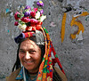 Leh market, Ladakhi woman in her traditional costume