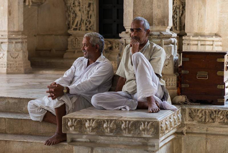 Temple men at rest