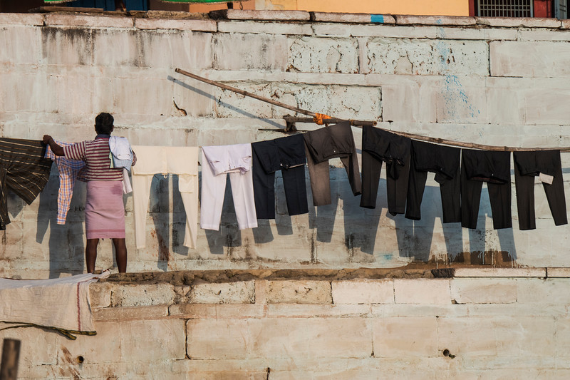 Laundry alongside the ghat