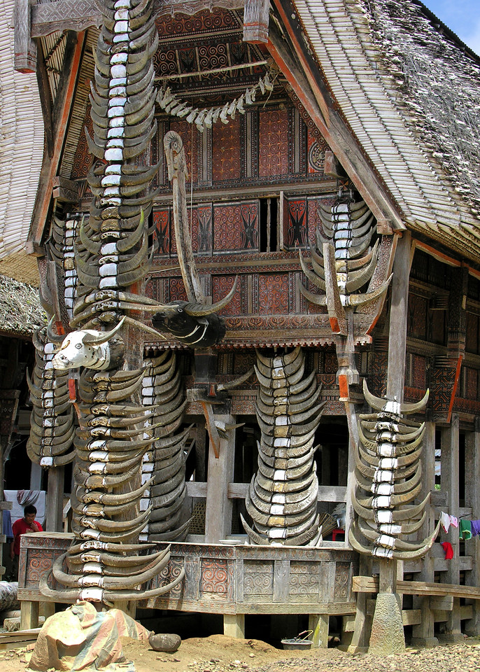 TORAJAN HOUSE WITH BUFFALO HORNS