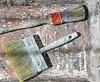 Paint brushes used on grunge bucket