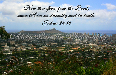 JOSHUA 24;14,DIAMOND HEAD FROM PUNCH BOWL, OAHU