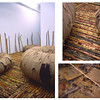 """""""Perdida""""<br /> Installation (300s.f)<br /> 1,800 Pounds of Sugar Cane<br /> 50 Gallons of Water<br /> 4 Giant Inner Tubes wrapped in Burlap & Rope<br /> Continuous Sound Loop of <br /> Water Lapping<br /> Oct 2005<br /> <br /> In search of memories of my family's past, """"Perdida"""" was the result of an exploration of my Cuban heritage. When entering the installation one is forced to walk on top of the freshly-cut sugar cane that has been carefully sewed together with twine.  It feels sturdy yet instable, and as you cross over into this space you become aware of your own footsteps, emphasizing the thought of a passage. And as you look into the center of the inner tubes you realize that they are containing water, contradicting their usual function as floatation devises.  <br /> Hundreds of images and documents are submerged in the water.  Family photographs, diplomas, letters, and advertisements are just a few of the types of items you will find here. These precious memories have been discarded as if they no longer have any importance. You are invited to submerge your own hands into the water and fish out the memories the same way I had to.  The sound of water is continuously heard adding an eerie feeling to the piece. Symbolically water is the distance between the place with these memories and where I stand. Yet these memories have sadly been washed away, and those lives and that place- no longer exist."""