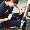 Zena building the harness (all soldered connections!)