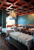 interior restaurant decoration warm wood ceiling