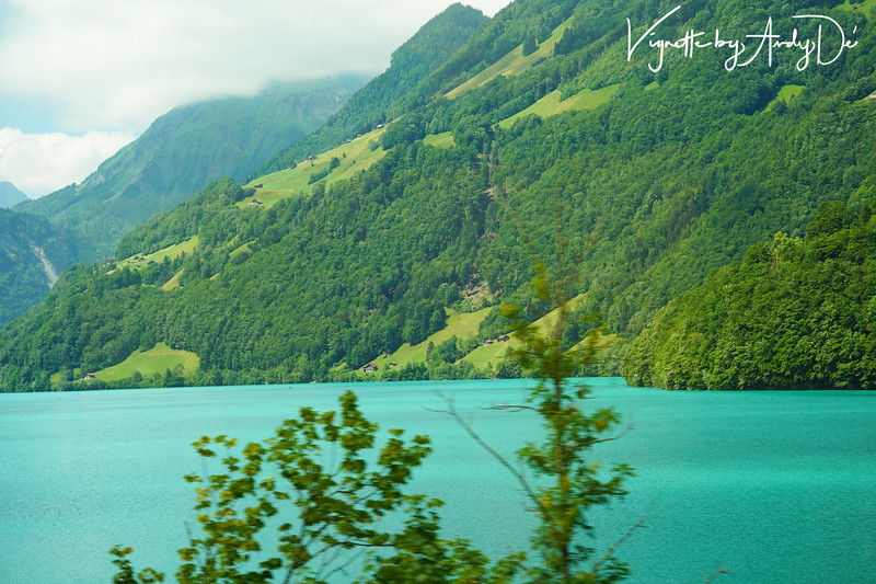 Photo taken from our running train window between Lucerne and Interlaken. Particularly interesting were the turquoise water from the lakes, unlike the blue waters of the Aegean Sea in Santorini and Mykonos, in Greece!