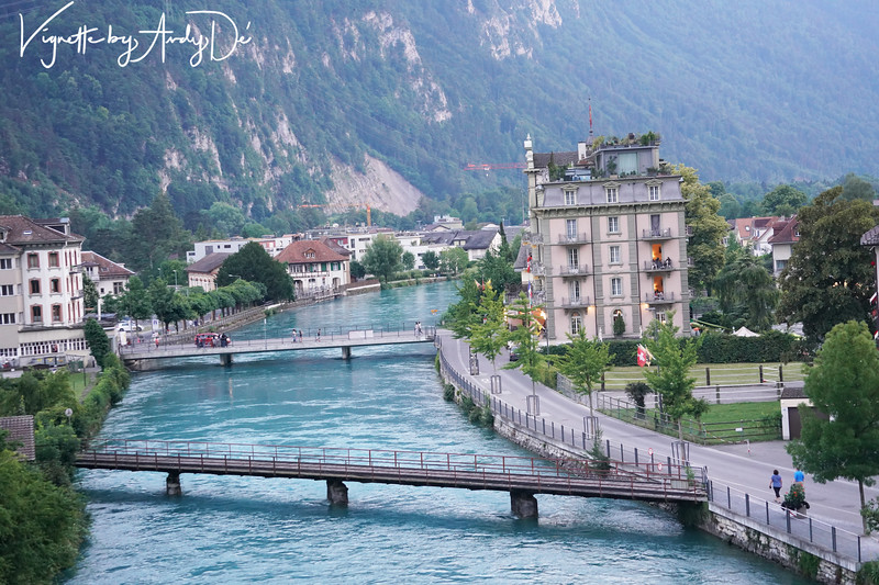 The picturesque panorama of the enchanting town of Interlaken as seen from our hotel suite!