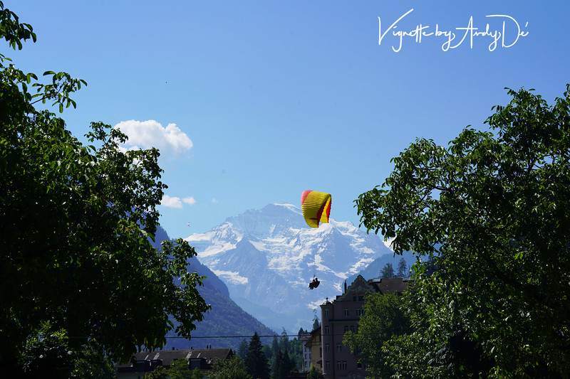 Paragliding is a popular sport in Interlaken - lucked out in capturing this coveted shot of this Paraglider against the snow covered peaks of the Jungfrau, as a fantastic backdrop!