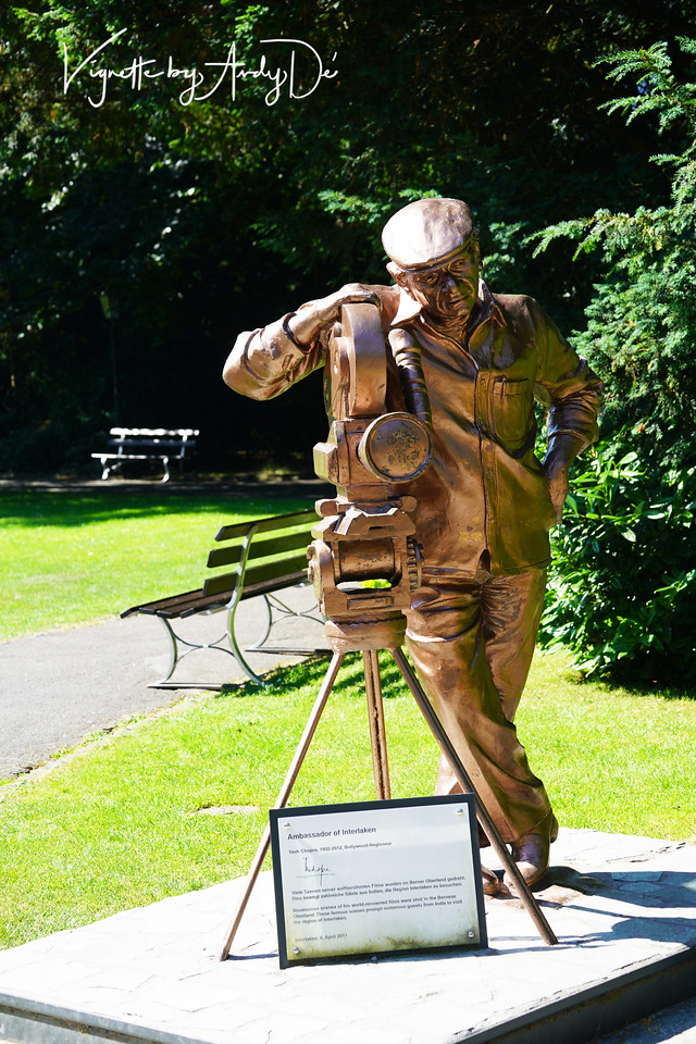 """People of Indian origin will take pride in that Bollywood's """"Raja of Romance"""" YASH CHOPRA (whose iconic films we have been raised on) was officially anointed as 'Ambassador to Interlaken' and recognized for his yeoman contribution to Swiss Tourism with a bronze bust in the center of the city, which attracts visitors from all over the World!"""