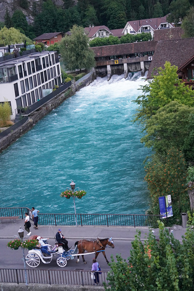 Horse carriage with the canal as backdrop, as seen from our hotel suite in Interlaken.