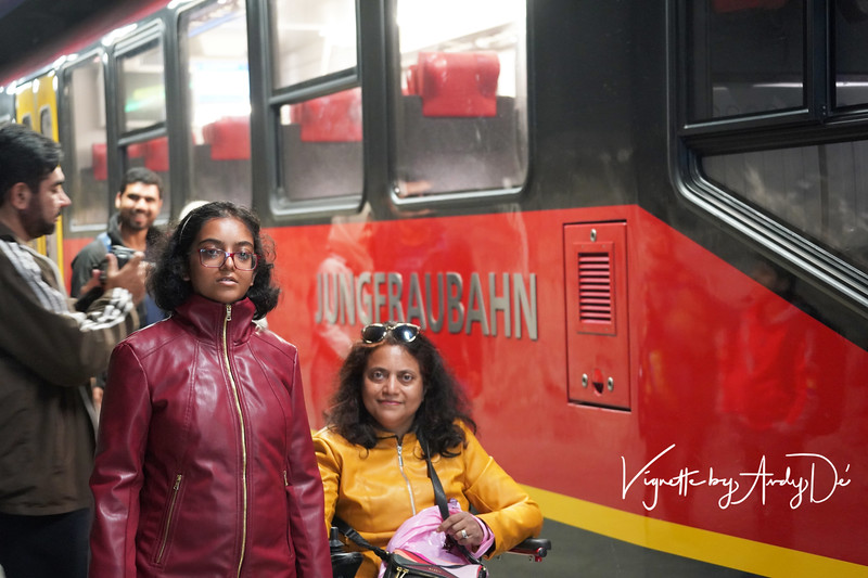 Alighting from our cogwheel train at the top of the Jungfraujoch - an amazing train journey that we would love to re-experience for sure!