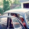 Janice trying to pack the 1964 VW