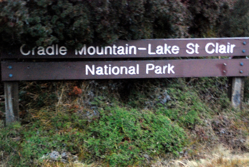 Sign for Cradle Mountain in the middle of Tasmania