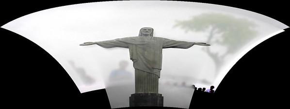 composit of cristos statue, rio brazil UNESCO WORLD HERITAGE SITE