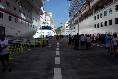 The Carnival Dream Bahamas dock with 3 other liners, walk to downtown about 15 minutes or you can get taxis.