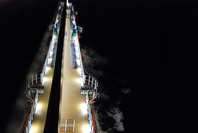 at night at sea looking down from spa deck 11 carnival dream