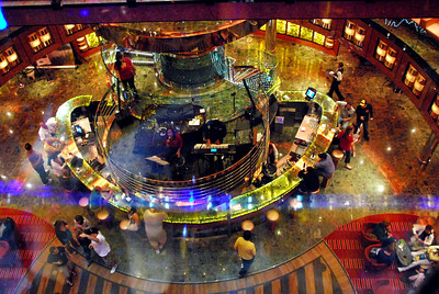 picture of the Atrium, from the glass elevator balcony state room, Carnival Dream