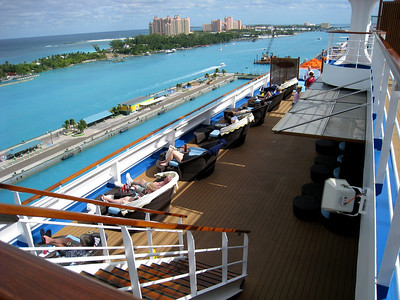 Carnival Dream looking back to the Atlantas on Nassau balcony state room spa deck