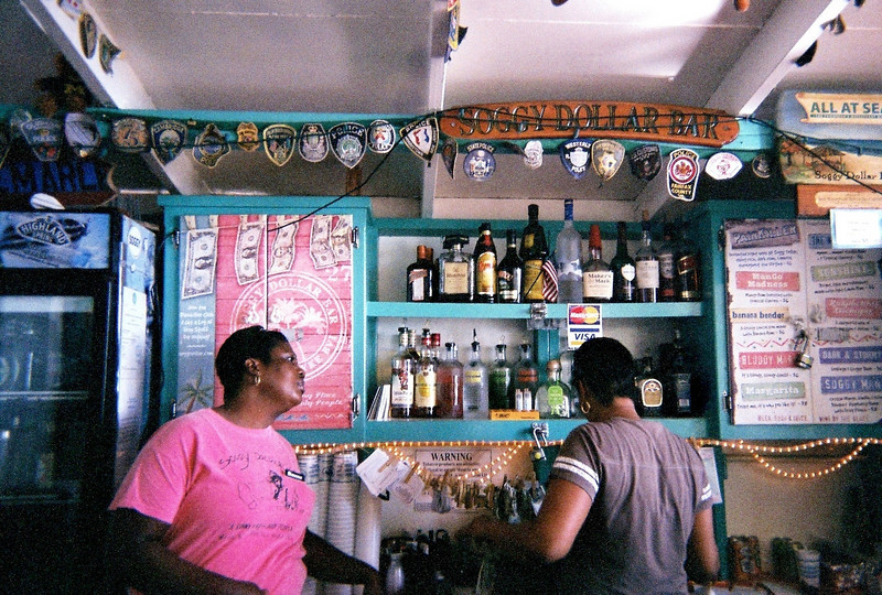 jost van dyke island, British Virgin Islands, Soggy Dollar Bar, see the bills hanging to dry. soggy dollar bar 2010